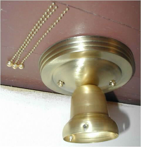 3 chain brass LIGHT FIXTURE for vtg 30S ART DECO SHADE NEW ready to hang!