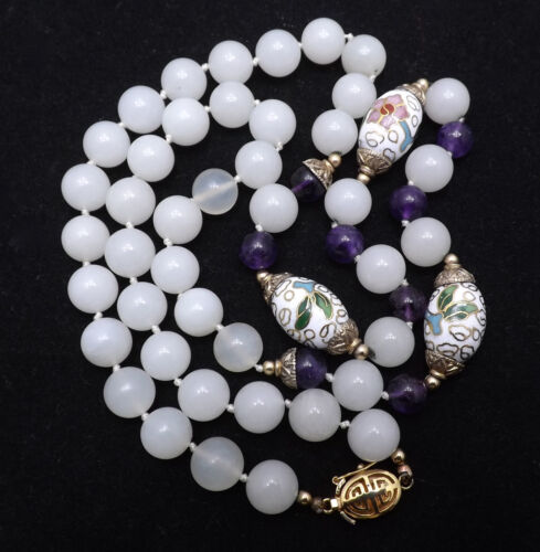 Vintage Chinese Jade, Amethyst & Gold Accented Cloisonné Bead Necklace ca 30/50s