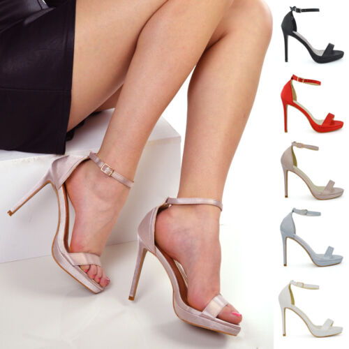 Womens Bridal Heel Satin Sandals Ladies Platform Ankle Strap Party Prom Shoes