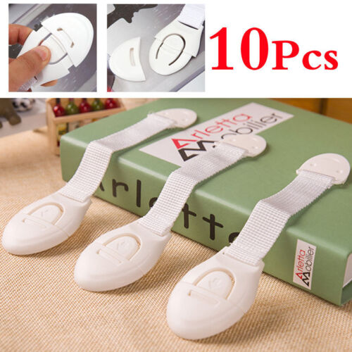 10Pcs Baby Kids Child Adhesive Safety Lock For Cabinet Door Drawers Refrigerator