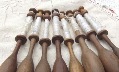 Collection of Vintage French Wood Bobbins Lace Making Spools with thread