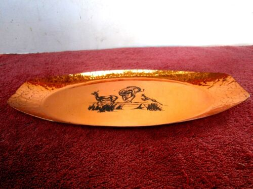 BEAUTIFUL  BRIGHT AFRICAN COPPER TRAY  FEATURING ENGRAVED ANTELOPES 30cm. X 14cm