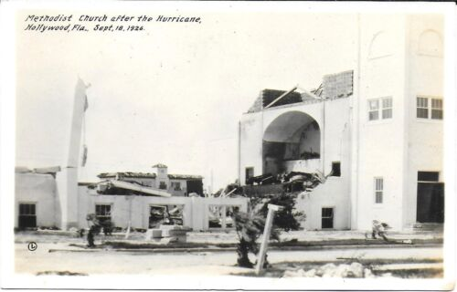 RPPC of Damage to Hollywood Florida Methodist Church from 1926 Hurricane