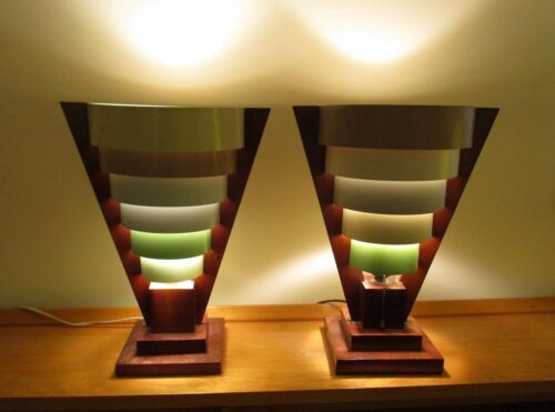 (2) Retro, Mid Century Modern, Atomic Era, Wood & Metal Lamps, FREE Delivery USA