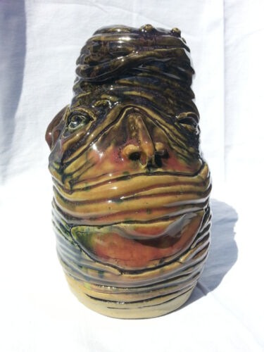 8 inch Ceramic Coil Face Jug / Vase with handle - Direct from the Artist