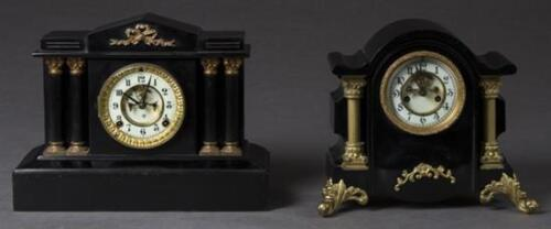 Two Cast Iron and Gilt Metal Open Escapement Mantle Clocks, 19th c., t... Lot 25