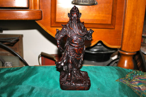 Vintage Japanese Chinese Samurai Warrior Red Wood Lacquer Statue-Detailed