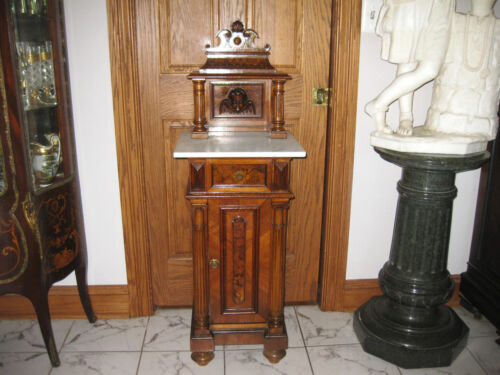 ANTIQUE RENAUSSANCE CARVED CABINET WITH MARBLE TOPca.1860s