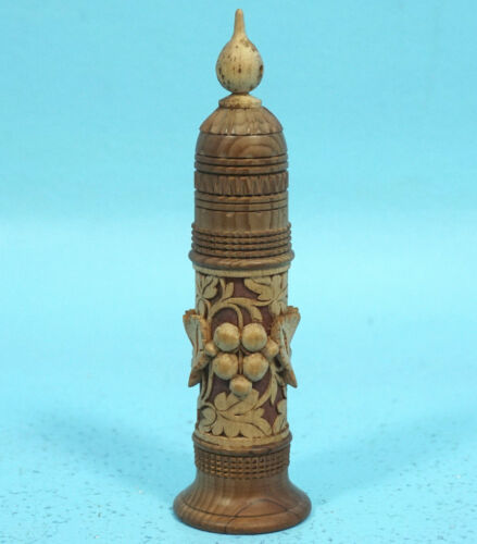 Antique Swiss Black Forest Wood Carving Needle Thimble Thread Case Holder c1920