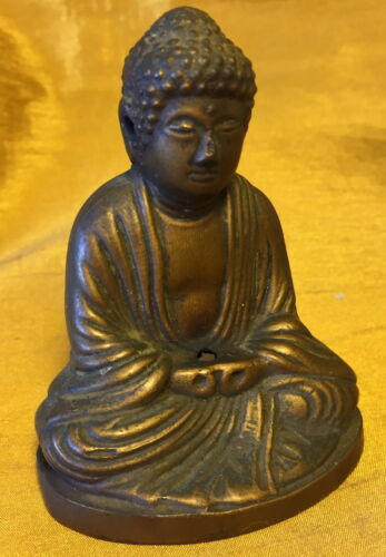 Vtg Chinese/Japanese/Asian Brass BUDDHA Figurine w Vent Holes Incense Burner