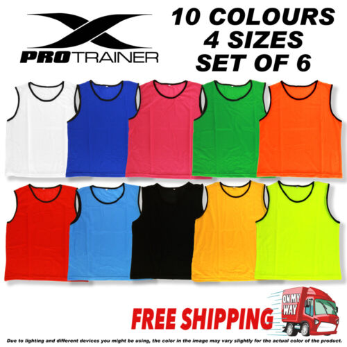 6x FOOTBALL TRAINING BIBS Vests Soccer Rugby Basketball Sports Cricket Netball