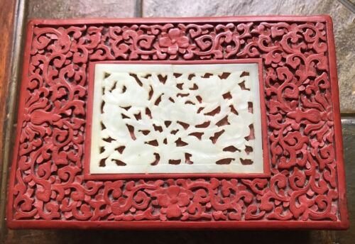 Antique Chinese Floral Carved Cinnabar Stash, Jewelry Box w/ Jade Insert