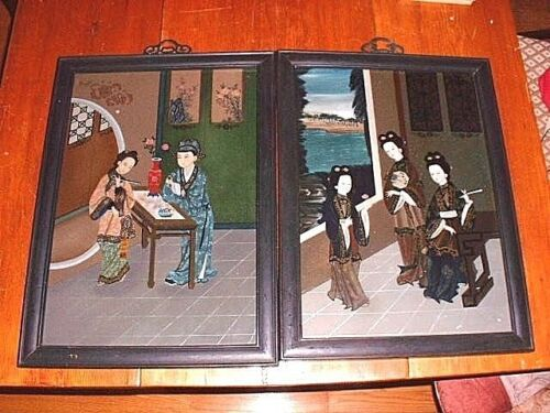 2 Large Antique Chinese Reverse Paintings On Glass