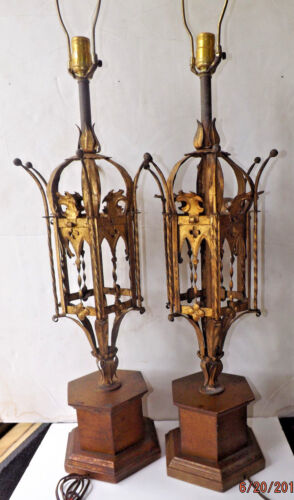 Pair Frederick Cooper Gold Tole Lamps Gothic Hollywood Regency
