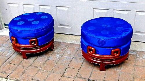 PAIR VINTAGE CHINESE ROSEWOOD CARVED OTTOMANS W/ BLUE SILK DOUBLE CUSHION TOPS