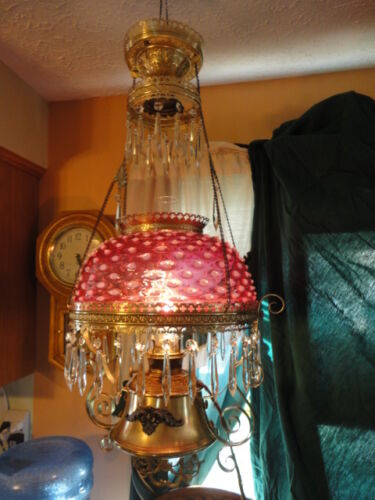 B & H Cranberry Hobnail Opalescent Brass Hanging Electrified Oil Lamp Vintage