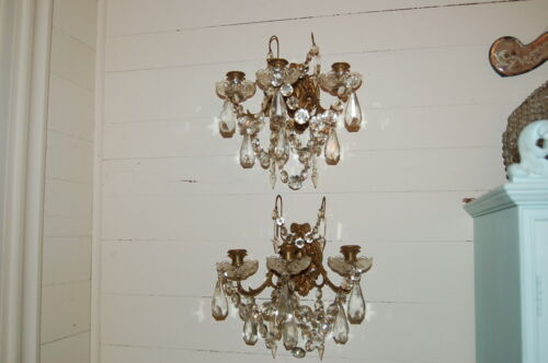 Pair Incredible Antique Brass French Sconces Candelabras Crystals Swags