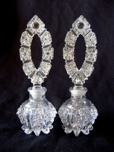 Pair~2 ViNTaGe~Antique Crystal Clear Footed ArT GLaSs Perfume Bottles w/Stoppers