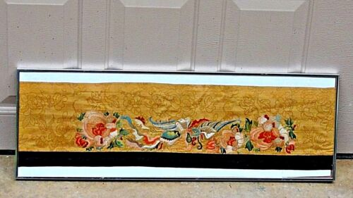 ANTIQUE 19c CHINESE SILK GOLD EMBROIDERY PANEL WITH A PHOENIX AND FLOWERS.