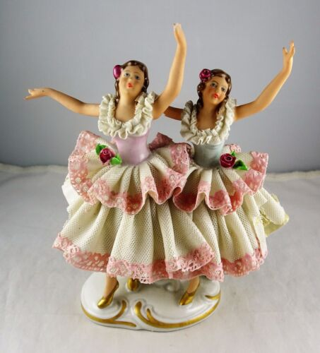 Antique Dresden Porcelain Dancing Women Figurine - Pink Lace, Pink Floral, Gold