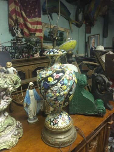 Antique Floral Oversized Lamp For Restoration 1940's Colorful Beautiful