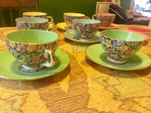 Lot Of 7 Sets English Cups And Saucers Floral Pattern Look 👀