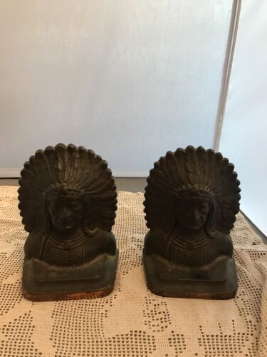 Authentic c1920 ANTIQUE CAST IRON INDIAN HEAD BOOKENDS Chief Marked FAY