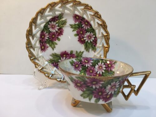 Opalescent Footed Unbranded Bone China Teacup & Saucer, Lace Edge Gold Tone Edge