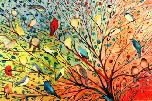 TREE BIRDS - COLORFUL ART POSTER 24x36 - NATURE 36800