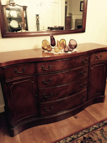 Antique Duncan Phyfe Buffet Console Mahogany Cabinet Dining Room Bow Curved