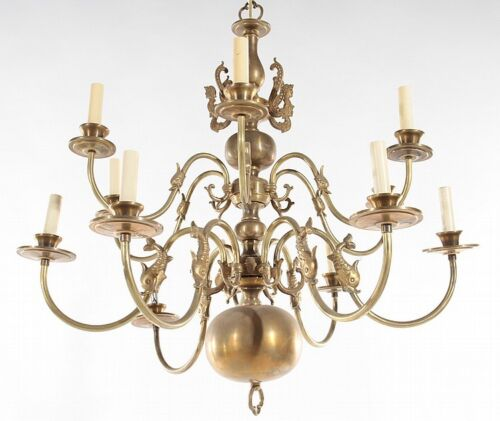 12 ARM BRASS CHANDELIER SPANISH COLONIAL C.1940 Lot 389