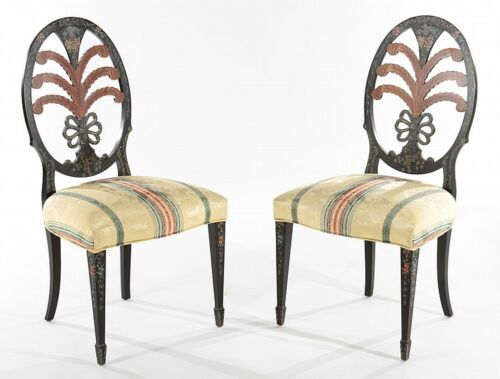 PAIR OF ADAMS STYLE PAINTED SIDE CHAIRS Lot 640