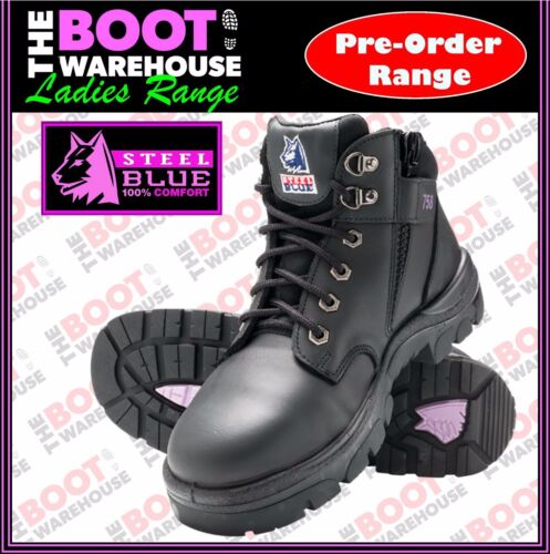 Steel Blue 'Parke's' 512758, Ladies Black Safety Lace-up & Zip, Ankle Boot <br/> PRE-ORDER STYLE - UP TO 15 BUSINESS DAYS POSTAL DELAY