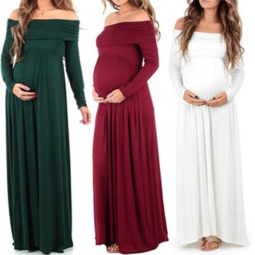 Pregnant Women's Chiffon Gown Maxi Dress Wedding Party Prop Dresses Photography