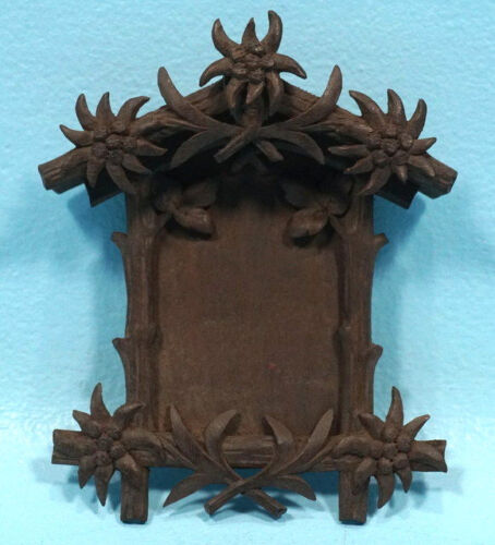 Antique Swiss Black Forest Wood Carving Picture Frame Edelweiss Brienz c1900