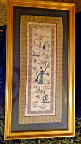 Chinese Silk Embroidery Framed Tan & Multi Textile Oriental Lady Garden Flowers