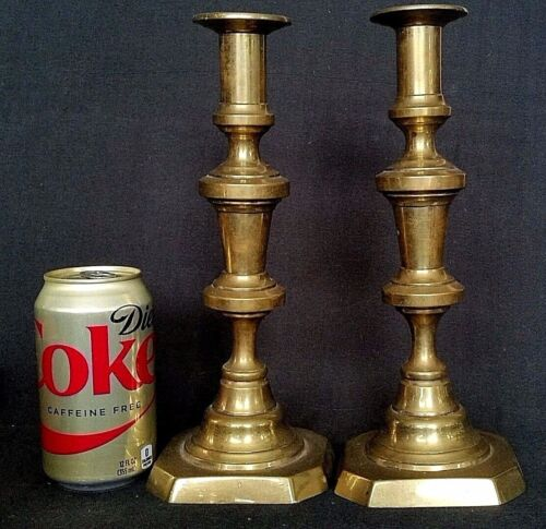 Antique Early Solid Brass Push Up Candleholders Sticks Holders England