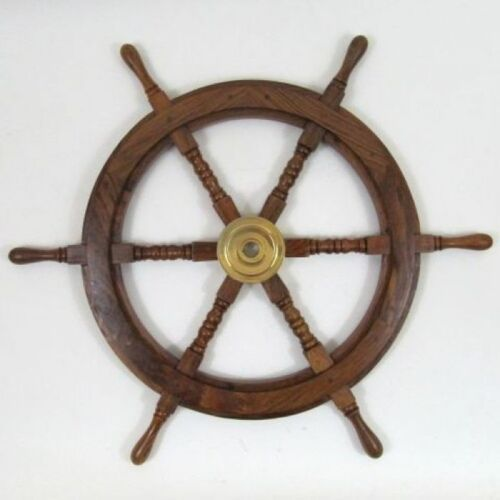 "SHIP WHEEL WOODEN 24""D ~ WOODEN SHIP WHEEL ~ NAUTICAL ~ PIRATE ~ NAUTICAL DECOR"