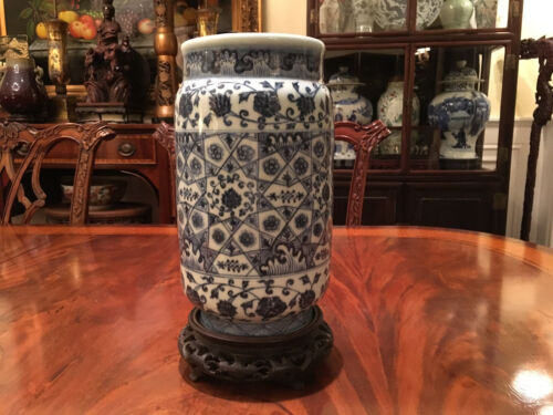 A Rare Chinese Antique Blue and White Porcelain Vase, Marked.