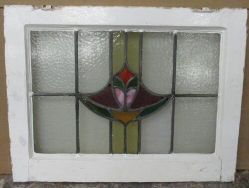 "MID SIZED OLD ENGLISH LEADED STAINED GLASS WINDOW Beautiful Abstract 24"" x 18.5"""