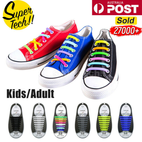 Easy Lazy No Tie Elastic Silicone Shoe Laces Cool Guy Sports Shoelaces Unisex <br/> 15000+ SOLD✔Up to 10% OFF✔ BEST EASTER GIFT✔SYD STOCK