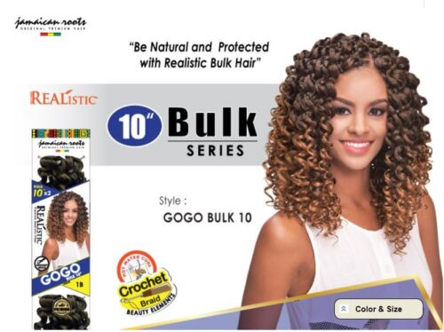 "Realistic Short 10"" x 2 Braid Crochet GOGO Curl Go Go Hair Bulk"