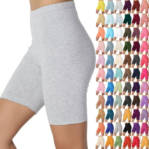 TheMogan S~3X Mid Thigh Stretch Cotton High Waist Active Bermuda Short Leggings