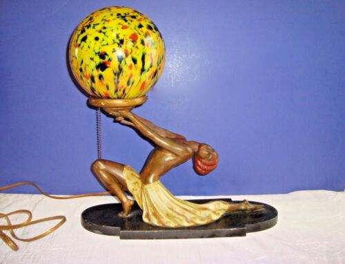 Art Deco Metal Figural Semi-Nude Lamp by L V Ronson Metalworks of New York