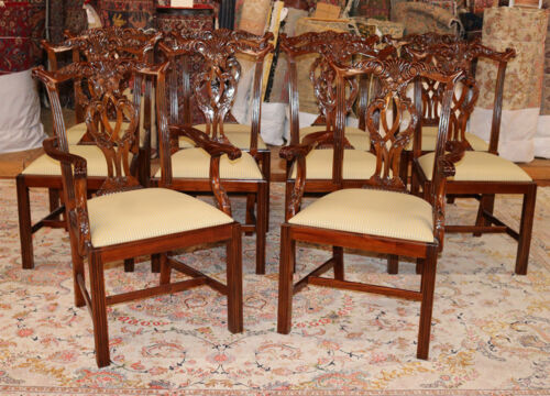 Incredible Set 10 Straight Leg Carved Mahogany Chippendale Chairs MINT