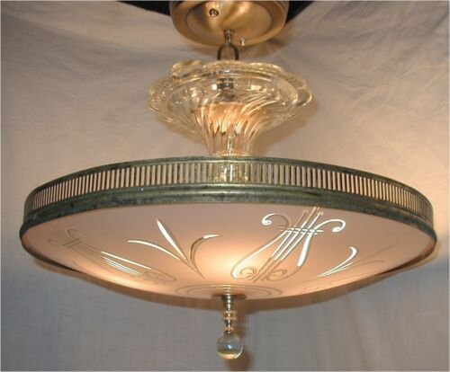 VTG 30s ART DECO PINK SILVER MUSIC LYRE GLASS SHADE CHANDELIER LIGHT FIXTURE