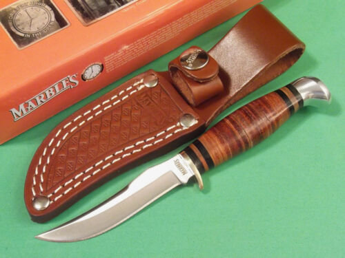 """MARBLES MR396 SMALL HUNTER Stacked Leather fixed blade knife 6 1/4"""" overall NEW!"""
