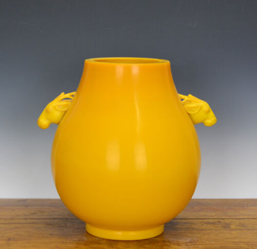 Extremely Rare Large Chinese Chicken Fat Yellow Glass Deer Handle Hu Form Vase