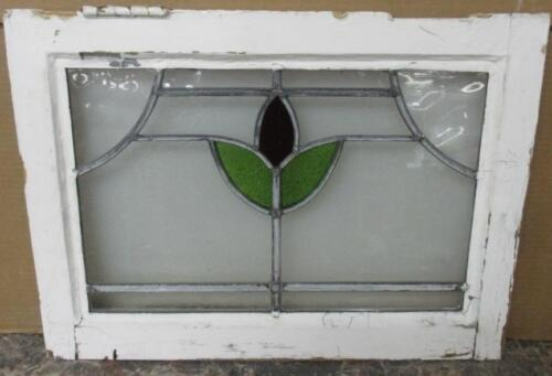 """OLD ENGLISH LEADED STAINED GLASS WINDOW Pretty Floral Abstract 20.5"""" x 15"""""""