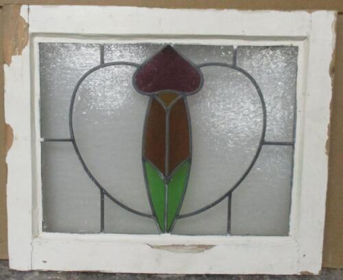 """OLD ENGLISH LEADED STAINED GLASS WINDOW Beautiful Heart 19.75"""" x 16.5"""""""